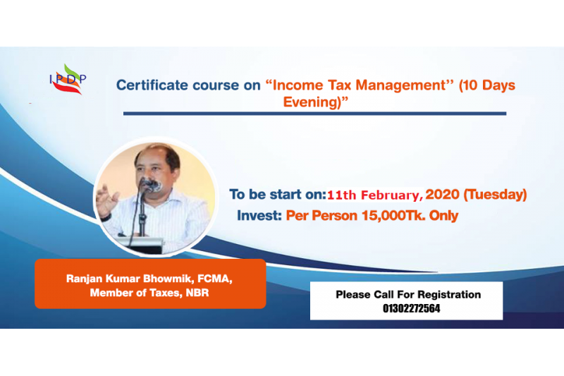 "Certificate course on ""Income Tax Management'' (10 Days Evening)"