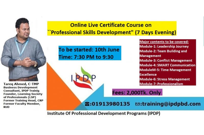 "Online Live Certificate Course on ""Professional Skills Development"" (7 Days Evening)"