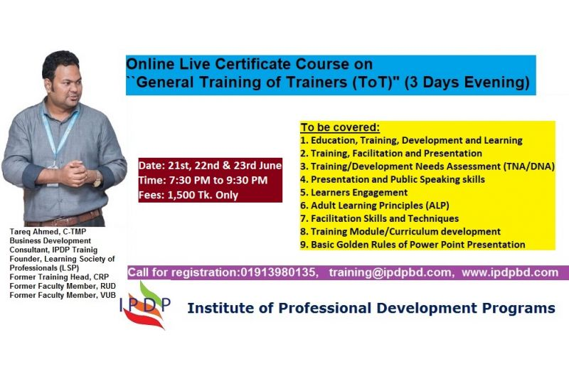 "Online Live Certificate Course on ""General Training of Trainers (TOT)"" (3 Days Evening)"