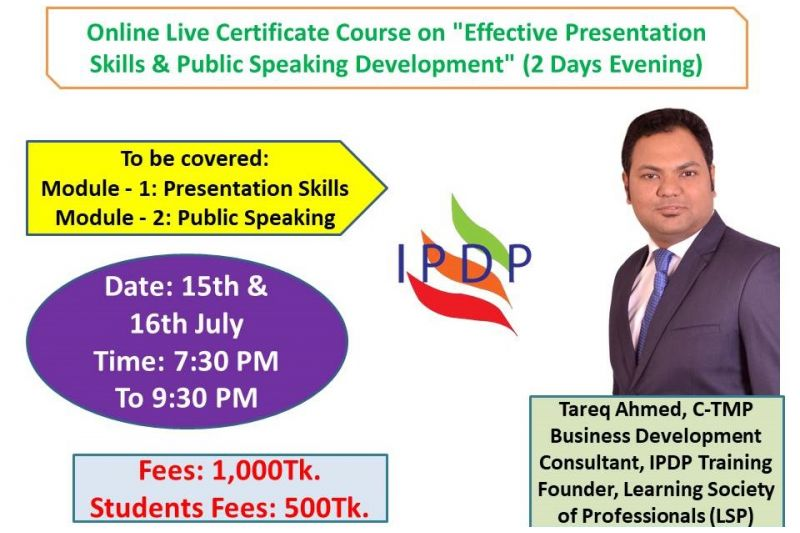 "Online Live Certificate Course on ""Effective Presentation Skills & Public Speaking Development"" (2 Days Evening)"