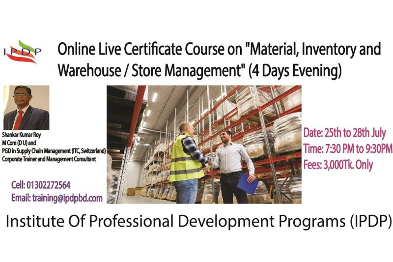 "Online Live Certificate Course on ""Material, Inventory and Warehouse / Store Management"" (4 Days Evening)"