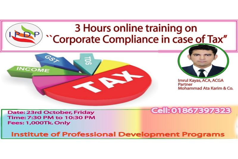 "3 Hours online training on  ""Corporate Compliance in case of Tax"""