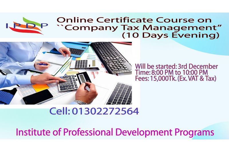 "Online Certificate course on ""Company Tax Management''  (10 Days Evening)"