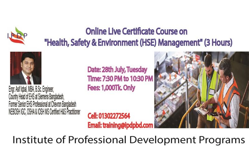 """Online Live Certificate Course on """" Health, Safety & Environment (HSE) Management """" (3 Hours)"""