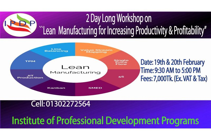 """2 Day long workshop on ``Lean Manufacturing for Increasing Productivity & Profitability"""""""